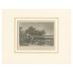 Antique Print of Fishermen by Rogerson