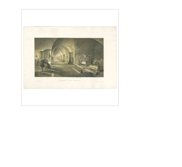Antique print titled 'Interior of Fort Nicholas'. Interior view of Fort Nicholas showing living space and arched passageway. This print originates from 'The Seat of the War in the East' by W. Simpson. Published July 18th 1855 by Paul & Dominic