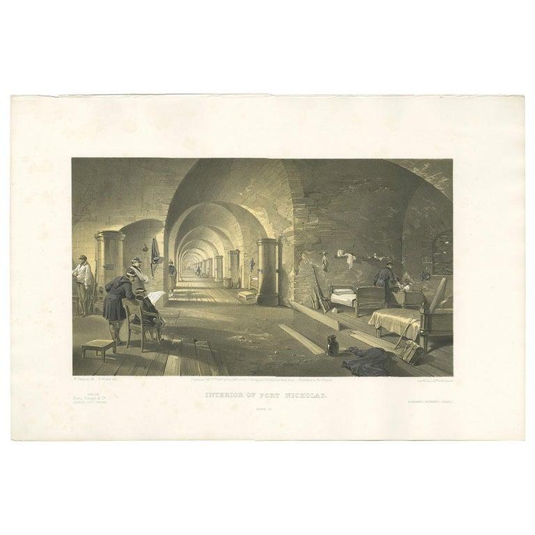 Antique Print of Fort Nicholas 'Crimean War' by W. Simpson, 1855 For Sale