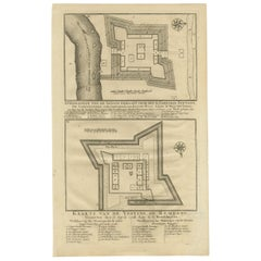 Antique Print of Fortresses in the Banyumas Region by Valentijn, 1726