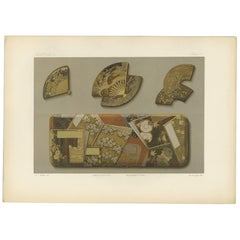 Antique Print of Four Japanese Boxes 'Lacquer' by G. Audsley, 1882