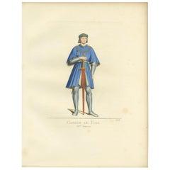 Antique Print of Gaston De Foix, 15th Century, by Bonnard, 1860