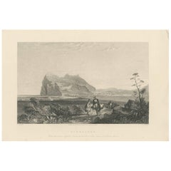 Antique Print of Gibraltar by E. Finden, 1840