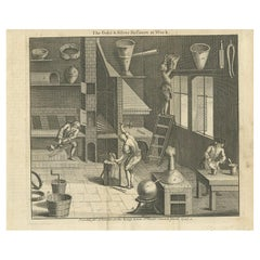 Antique Print of Gold and Silver Refiners at Work by Hinton, 1747