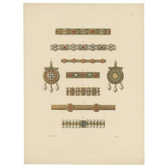 Antique Print of Gold Bracelets and Pendants by Hefner-Alteneck '1890'