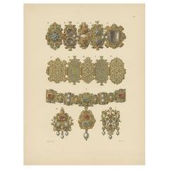 Antique Print of Gold Bracelets by Hefner-Alteneck '1890'