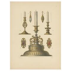 Antique Print of Gold Candleholders by Hefner-Alteneck, 1890