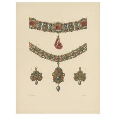 Antique Print of Gold Necklaces and Pendants by Hefner-Alteneck '1890'