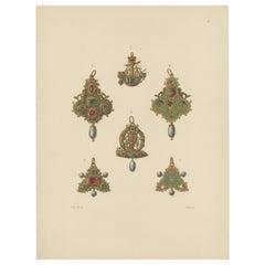 Antique Print of Gold Pendants with Gems by Hefner-Alteneck, 1890