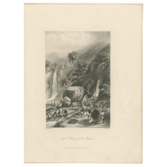 Antique Print of Gold Washing in Brazil by Payne '1847'