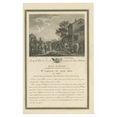 Antique Print of Grape-Pickers returning from the Vineyard by Couché 'c.1800'