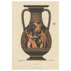 Antique Print of Greek Ceramics 'Amphora' by Genick, '1883'
