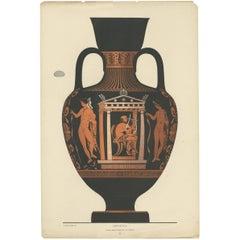 Antique Print of Greek Ceramics 'Amphora' by Genick '1883'