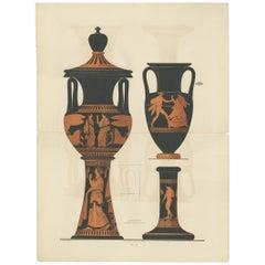 Antique Print of Greek Ceramics 'Amphoren' by Genick '1883'