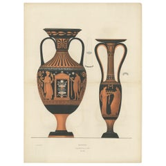 Antique Print of Greek Ceramics 'Amphoren' by Genick, '1883'