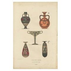 Antique Print of Greek Ceramics 'Flaschen/Becher' by Genick, 1883