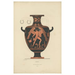 Antique Print of Greek Ceramics 'Hydria' by Genick (1883)
