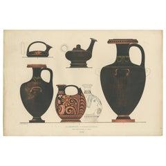 Antique Print of Greek Ceramics 'Hydrien / Giessgefässe' by Genick '1883'