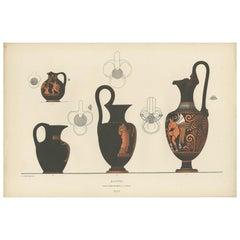 Antique Print of Greek Ceramics 'Kannen' by Genick, 1883