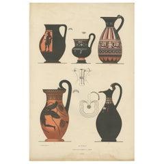 Antique Print of Greek Ceramics 'Kannen' by Genick '1883'