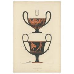 Antique Print of Greek Ceramics 'Kantharos' by Genick, '1883'