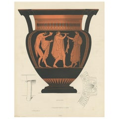 Antique Print of Greek Ceramics 'Krater' by Genick '1883'