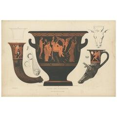 Antique Print of Greek Ceramics 'Krater/Zwei Trinkhörner' by Genick '1883'
