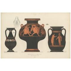 Antique Print of Greek Ceramics 'Kühlgefäss/Amphoren' by Genick, '1883'
