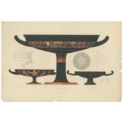 Antique Print of Greek Ceramics 'Kylix' by Genick, 1883