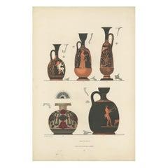 Antique Print of Greek Ceramics 'Lekythen' by Genick (1883)