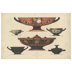 Antique Print of Greek Ceramics 'Schalen' by Genick '1883'