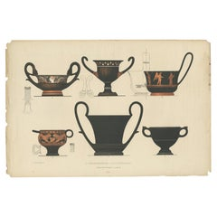 Antique Print of Greek Ceramics 'Trinkgefässe / Schöpfkelle' by Genick '1883'