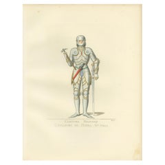 Antique Print of Guillaume de Bibra in Military Costume by Bonnard, 1860