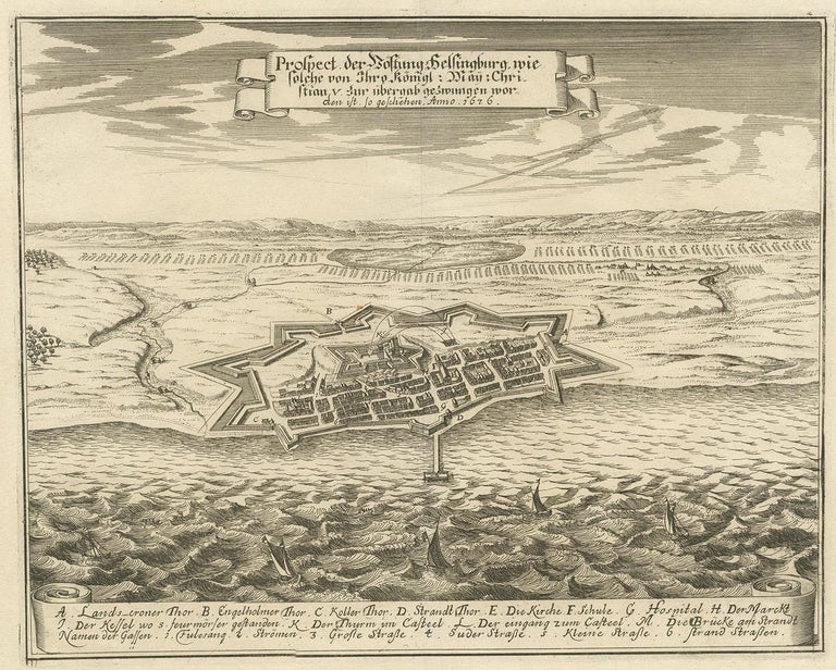 Antique print titled 'Prospect der Vöstung Helsingburg (..)'. Engraved view of Helsingborg, the centre of the northern part of western Scania and Sweden's closest point to Denmark. Following the Dano-Swedish War (1657-1658) and the Treaty of