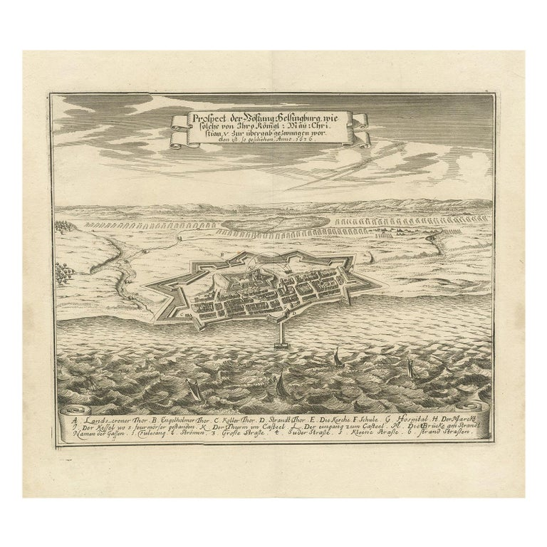Antique Print of Helsingborg by Merian 'circa 1680' For Sale