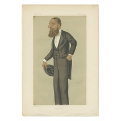 Antique Print of Henry Arthur Herbert Published in the Vanity Fair, 1876