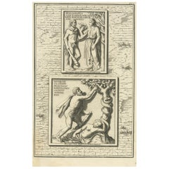 Antique Print of Hercules in the Garden of Hesperides by Volckamer, circa 1710