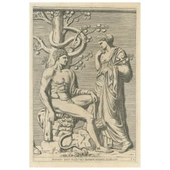 Antique Print of Hercules in the Garden of the Hesperides by Ferrari '1646'