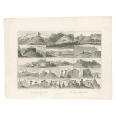 Antique Print of Hills on the Upper Missouri Made after Bodmer, circa 1840