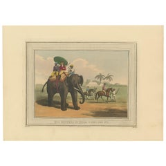 Antique Print of Hog Hunting in India by Williamson, 1819