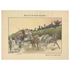 Antique Print of Horse Races, circa 1900