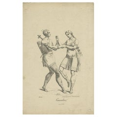 Antique Print of Indigenous Canadians by Trentsensky '1824'