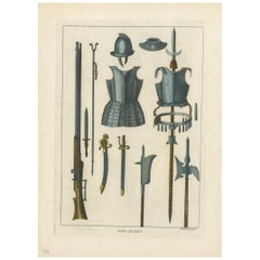 Antique Print of Infantry Armour and Weapons by Grose '1812'