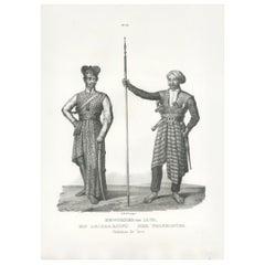 Antique Print of Inhabitants of Java (Indonesia) by Honegger (1845)