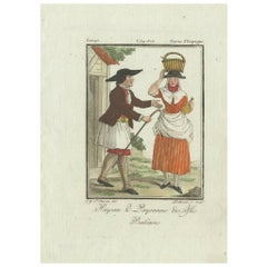 Antique Print of Inhabitants of the Balearic Islands by Lachaussee, circa 1805