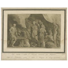 Antique Print of Iole cutting Hercules' Coat by Johann Theophilus Prestel, 1777