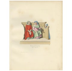 Antique Print of Italian Magistrates, 14th Century, by Bonnard, 1860