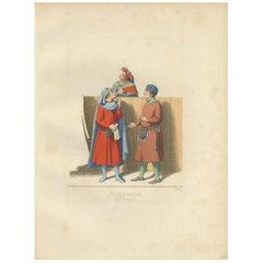 Antique Print of Italian Merchants by Bonnard, 1860