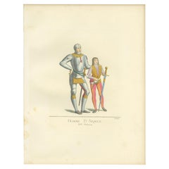 Antique Print of Italian Soldiers, 15th Century, by Bonnard, 1860