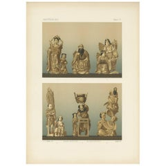 Antique Print of Ivory Carvings 'Japan' by G. Audsley, 1884